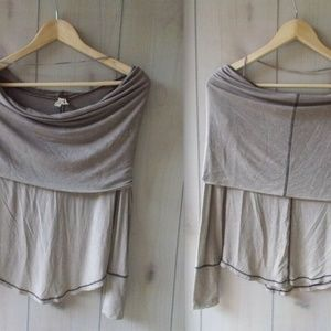 Free People Cosmo Cowl Neck Off-Shoulder Knit Top